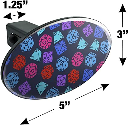 Amazon Com Graphics And More Dungeon Dice Pattern For Fighting Dragons Oval Tow Trailer Hitch Cover Plug Insert Automotive