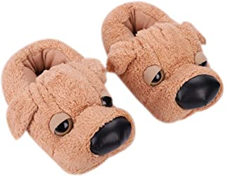 QCHOMEE Winter Ankle Boots Womens Mens Warm Slippers Shoes Non-Slip Fuzzy Booties Fleece Indoor Bedroom Home Slip-on Shoes Cartoon Big Nose Plush Dog Animal Slippers