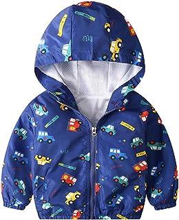 KISBINI Boy's Cartoon Lightweight Wind Zip Jackets Windbreakers Cute Dust Coats 2T-7T