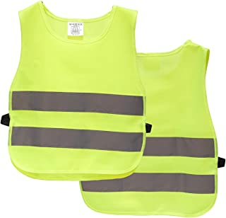 Kids Reflector Vest - 2-Pack High Visibility Vests, Reflective Vests for Outdoor Night Activities or Construction Worker Costume
