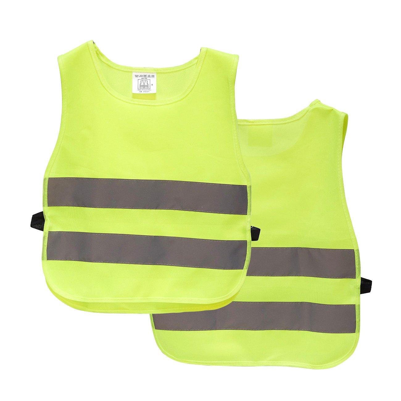 儿童反光背心 - 2 件装高可见性背心,户外夜间活动或建筑工人反光背心,万圣节服装配饰
