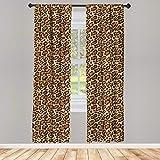 ABAKUHAUS Estampado de Leopardo Juego de 2 Paños Cortinas, Piel Panthera Especie, Tratamiento de Ventana para Habitación y Dormitorio, 150 cm x 225 cm, Arena de Color marrón pálido Caramel