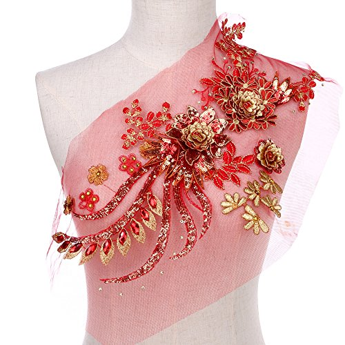 Large Sequins Peony Floral Beaded Lace Applique Feepop Costume Lace Trim Embroidered Bridal Dress Sewing Lace Motifs Gold Red