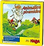 Haba- Animalicen Pirámide, Juego de apilamiento para 2-4 Jugadores a Partir de 4 años, con Figuras de Animales de Madera, también se Puede Jugar en Solitario, Multicolor (Habermass 303545)