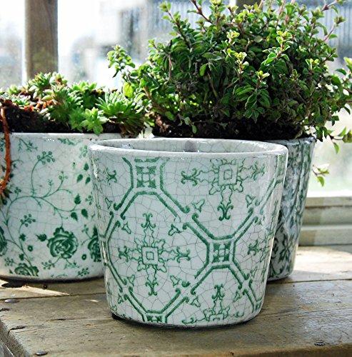 Bluebell Yard Dutch Design-Fliesen, Blumentopf, Terrakotta, Grün