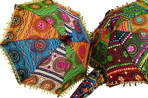 Guru-Shop Kleurrijk Katoenen Zonnescherm uit India, Maat: Groot (75x72), Paraplu`s