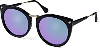 Polarized Sunglasses for unisex adult Vintage Cat-Eye Mirrored Lens (Purple),(Blue)