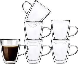 طقم من 6 قطع بوزن 293.5 جم من كأس القهوة الزجاجي وأكواب شرب الشاي بمقبض وشفافة
