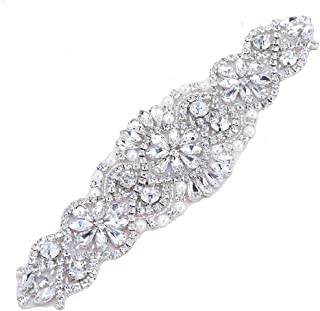Bridal Wedding Dress Sash Belt Applique with Crystals Rhinestones Pearls Beaded Decorations Handcrafted Sparkle Elegant Thin Sewn or Hot Fix for Women Gown Evening Prom Clothes