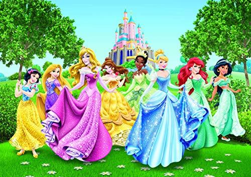 AG Design FTD 2207 Disney Princess Prinzessinen, Papier Fototapete - 360x254 cm - 4 teile, Papier, multicolor, 0,1 x 360 x 254 cm
