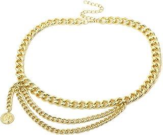 حزام معدني متعدد الطبقات حزام خصر سلسلة فستان أحزمة للنساء من أوديكسيوس