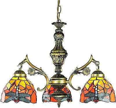 JW Lampadario retrò Tiffany Libellula Lampadario a Mosaico in Vetro colorato Lampada a Sospensione di Lusso Arabo Lampada a Sospensione Antica in Ferro Loft Illuminazione, luci E27,3