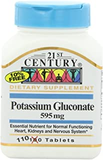 21st Century Potassium 595 mg Tablets, 110-Count (Pack of 4)
