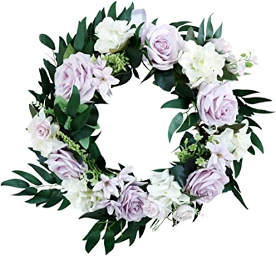 Rose Flower Easter Door Wreath Spring Flower Wreath Decoration with Artificial Flower for Spring, Easter, and Summer Wall, Wedding, Party Decoration - Light Purple