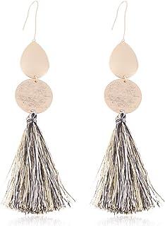 Solememo Gold Tone Bohemian Teardrop Round Long Drop Earring with Silky Thread Tassel Dangle Statement Earring for Women