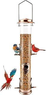 Metal Bird Feeder Tube Hanging Wild Bird Seed Feeder Aluminum Six Port Bird Feeders,1.4 mm Extra Thick Solid Tube Transpar...