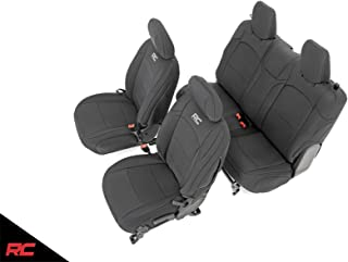 Rough Country Neoprene Seat Covers Front/Rear Black Compatible w/ 2018-2019 Jeep Wrangler JL 2DR Water Resistant 91020