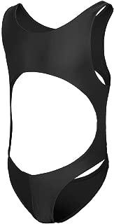 Men's Racer Back Hollowed Bodysuit Stretch Swimsuit Leotard Thongs Singlet