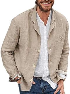 FSSE Men Solid Business Casual Loose Fit Cotton Linen Dress Blazer Jacket Sport Coat