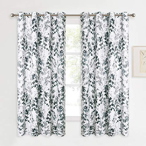 KGORGE Blackout Window Curtains - Print Curtains with Watercolor Nature Botanical Pattern Thermal Insulated Energy Efficient Drapes for Living Room Bedroom School Dorm, Set of 2, W 52 x L 45, Grey
