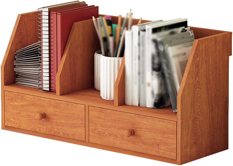LQQGXLoffice Furniture Desktop Bookshelf Simple Double Drawer Storage Cabinet Table Lattice Shelf (color   Cherry Wood)