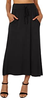 DJT Women's Elastic Stretch Waistband Plain Summer Skirt Long with Drawstring and Side Pockets