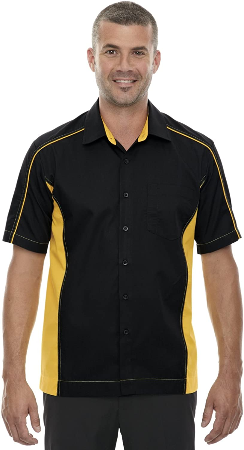 Ash City - North End North End Men's Spread Collar Tall Shirt, Black/Campus Gold, XX-Large Tall