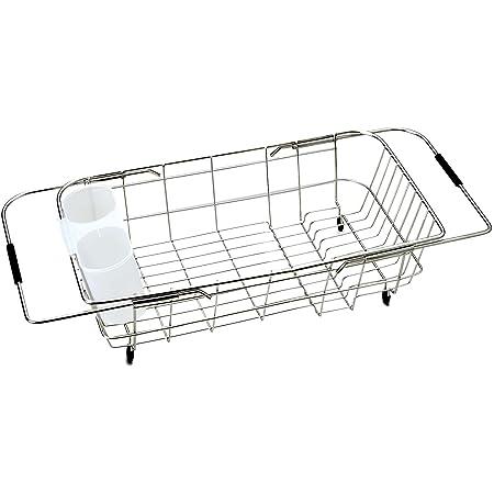 パール金属 食器 水切り かご シンク スライド式 ステンレス シンプル・ウェア HW-7332