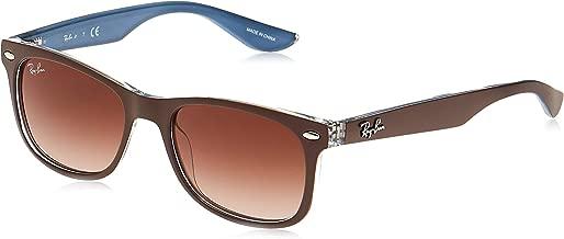 Ray-Ban Unisex-Child Plastic Unisex Sunglass 0RJ9052S Square Sunglasses, TOP MATTE BROWN ON BLUE, 48 mm