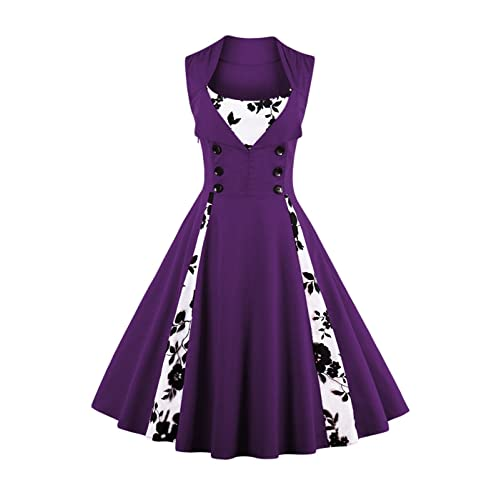 f99914c804b8 Plus Size Purple Retro Dress  Amazon.co.uk