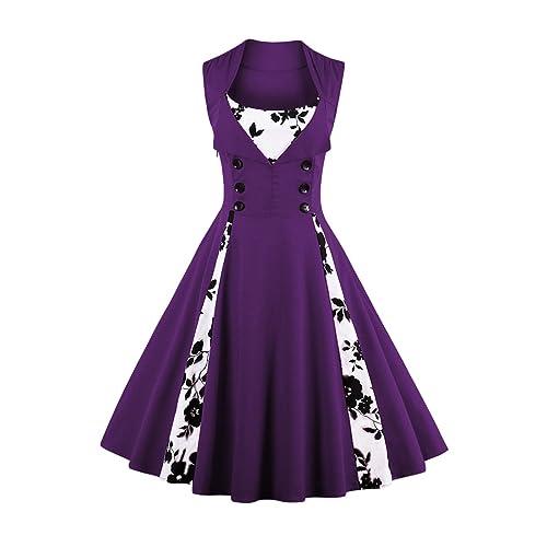 Plus Size Purple Retro Dress: Amazon.co.uk