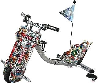 YIAIY Infantil Eléctrico Triciclo, Drift Temporizador De Cabina, Cola Deriva De Coches, Eléctrico Monopatín Kart, Apto para Niños De Más De 5 Años De Edad O Adultos,F