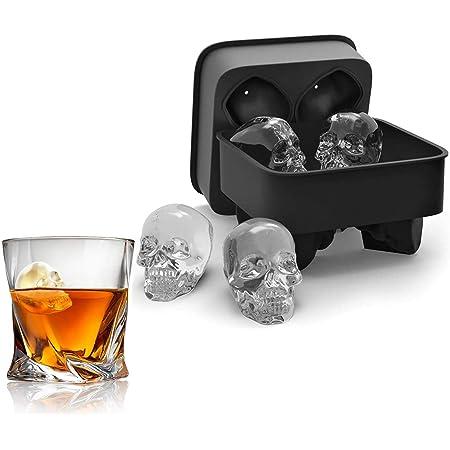 Stampo per ghiaccio 3D flessibile in silicone per cubetti di ghiaccio 4 teschi giganti cubetti di ghiaccio rotondi 4 Ice Molds
