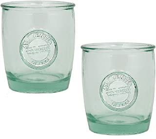 Authentic 100% Recycled Glass Drinking Cup with Embossed Authentic Seal, 14 ounce (Pack of 2)