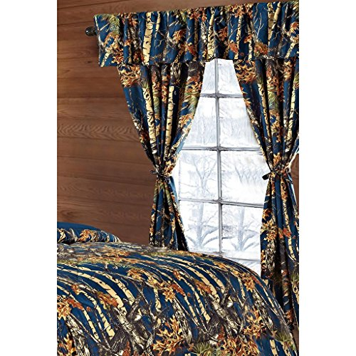 Regal Comfort The Woods Navy Blue Camouflage 5pc Curtain Set for Hunters...