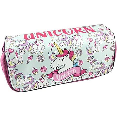 Unicorno Astuccio Portamatite Grande - Durevole Pencil Case con Cerniere Zip, Astuccio Scuola per Bambini Ragazze, Caso Matita Custodia Cosmetica di Grande Capacità (Unicorno rosa)