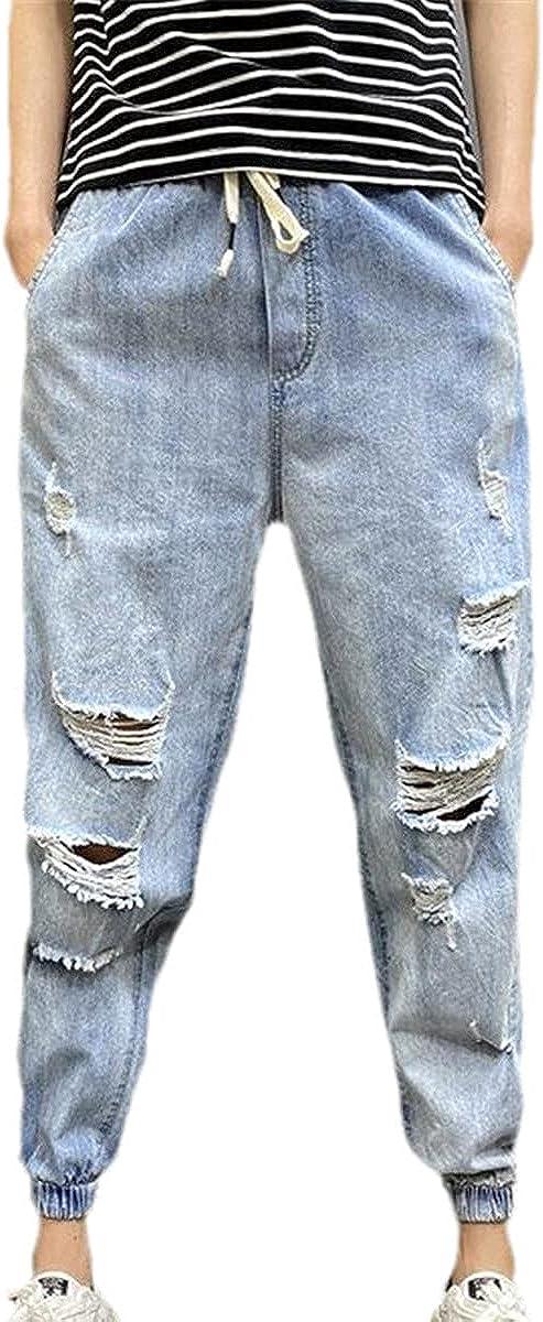 CACLSL Men's Loose Fashion Motorcycle Style Jeans Korean Harajuku lace-up Casual Pants