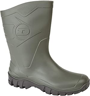 Dunlop Womens Short Half Length Ankle Wellington Wellies Boots Wide Calf , Green, 5 UK