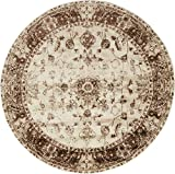 Unique Loom Rushmore Collection Traditional White Tone-on-Tone Cream Round Rug (5' 0 x 5' 0)
