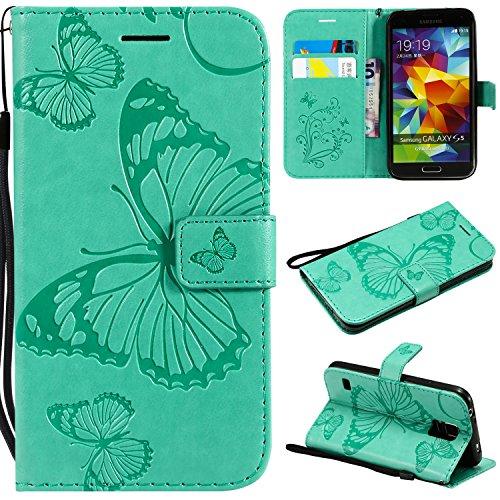 Kihying Hülle für Samsung Galaxy S5 / i9600 Hülle (KT/3D Schmetterling Blume) PU Leder Flip Wallet HandyHülle Cover (Grün)
