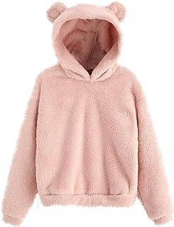 BIBOKAOKE Damen Fleece Pullover mit Bärenohren Sweatshirt Kapuzenpullover Damen Teenager Mädchen Herbst Winter Teddy-Fleec...