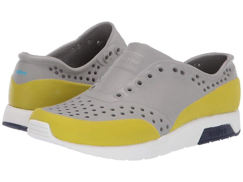 Native Kids Shoes Lennox Block (Little Kid) (Pigeon Grey/Shell White/Regatta Blue/Glo Green Glow Block) Kids Shoes