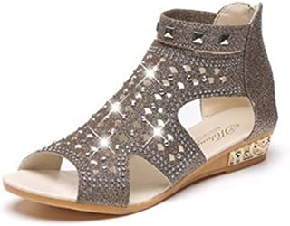 7aedf1d63045c2 GIY Womens Peep Toe Low Wedges Sandals with Sparkly Rivets Platform Comfort  Zipper Summer Dress Bootie