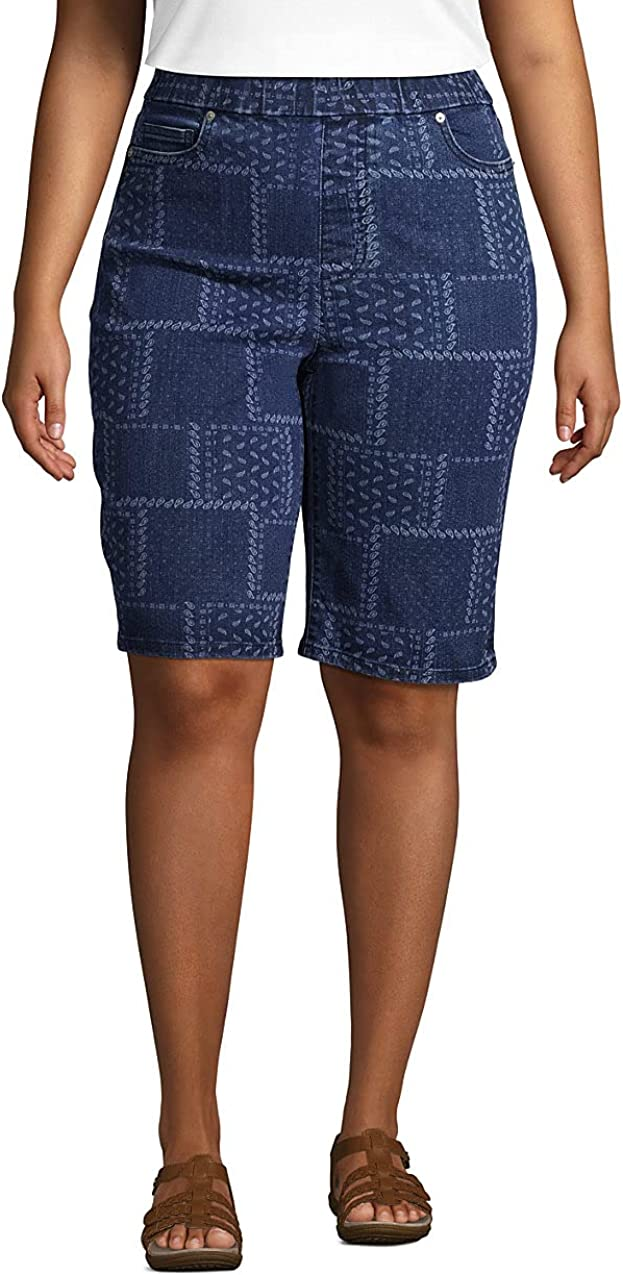 Lands' Max 54% Max 47% OFF OFF End Women's High Rise Bermuda On Pull Jean Shorts-Indigo