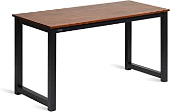 "DECOHOLIC Computer Desk 55"" Modern Simple Large Study Writing Desk Industrial Style Laptop PC Table for Home Office, with Leg Bars, Sandalwood Board Black Leg"