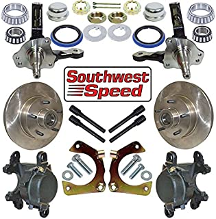 NEW SOUTHWEST SPEED RACING DELUXE HOT ROD FRONT BRAKE & MUSTANG II SPINDLE KIT WITH 5 X 4 3/4
