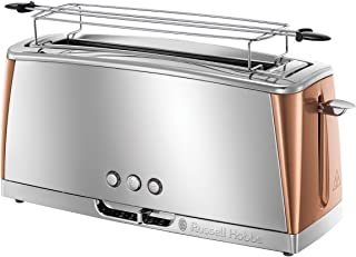 Russell Hobbs Toaster Grille-Pain, Spécial Baguette, Cuisson Rapide, Chauffe Viennoiserie - Cuivre 24310-56 Luna