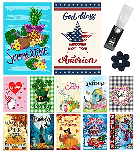 Yileqi Seasonal Garden Flags Set of 12 Double Sided Summer 4th of July Garden Flag, Small Yard Flag for Holiday Outdoor Decorations 12.5x18 Inch, with Free Anti-Wind Clip and Stopper