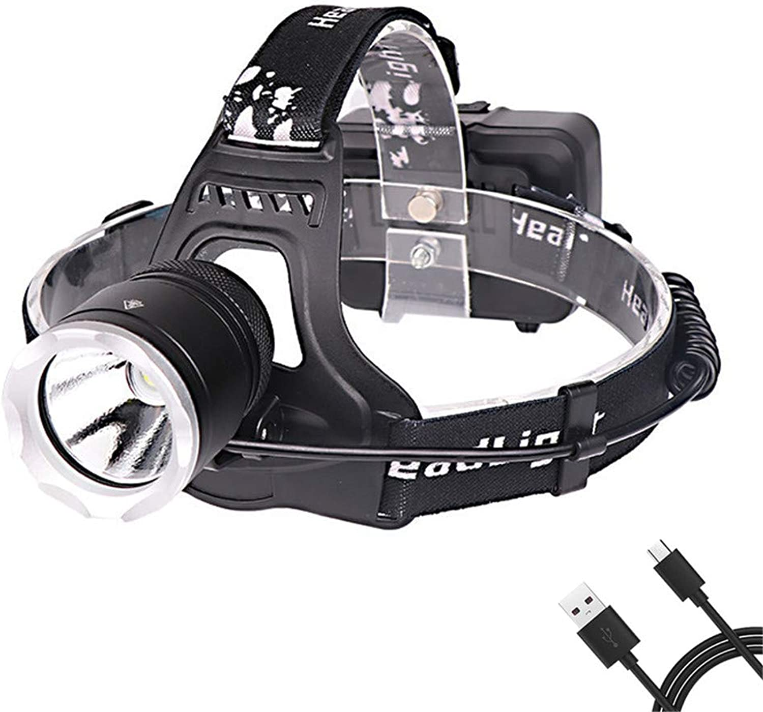 Led Head Torch, Zoomable USB Rechargeable Headlamp, 90 Degree Angle Adjustable Led Headlamp, 3 Modes Light Weight for Outdoor Work