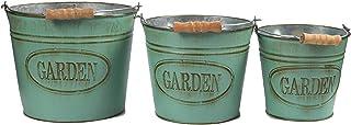 Juvale Cubos del plantador de la vendimia - 3-juego de jardín Cubo con la manija, galvanizado cubo del metal, ideal para la siembra, Decoración, almacenamiento, Aguamarina, 3 tamaños Verde